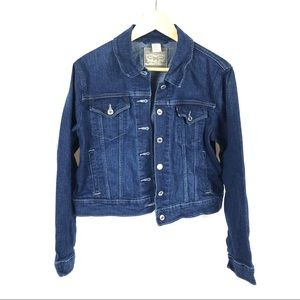 Levi's cropped trucker jean jacket pocketed